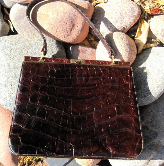 1950s Vintage Alligator Skin Handbag  Armadio  Pinterest