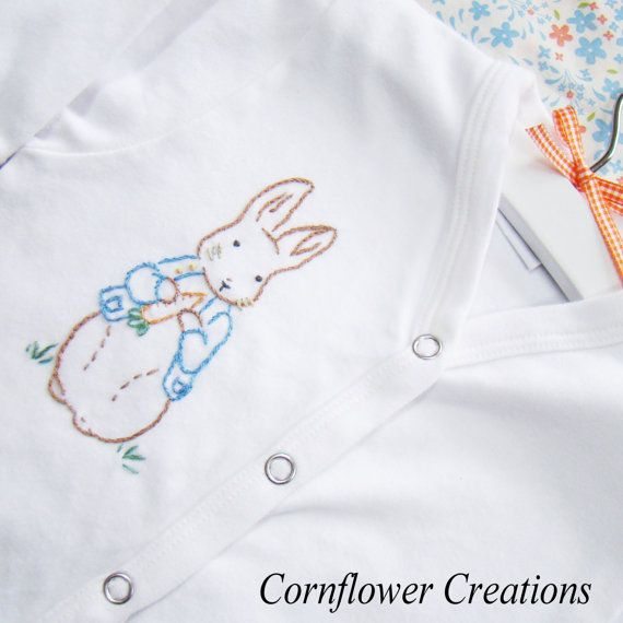 Peter rabbit hand embroidered snap down front romper