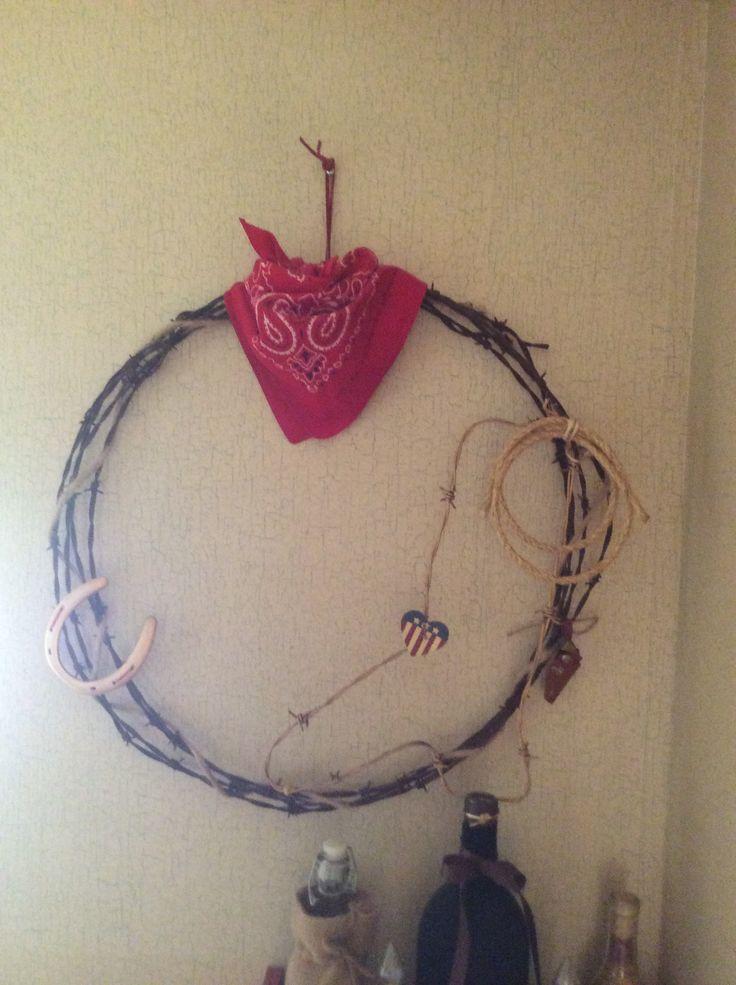 Barb wire wreath | Bathroom ideas** | Pinterest