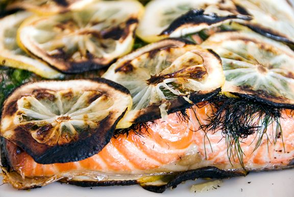 Simple Grilled Salmon 1-2 pound filet of fresh salmon 2 lemons, sliced ...