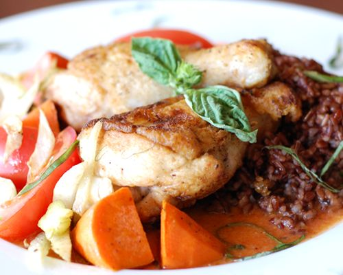 Ragu. Tender oven braised natural chicken, with summer root vegetables ...