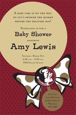 Florida State University Rattle Baby Shower Invitations
