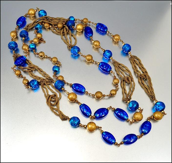 Art Deco Necklace Venetian Foil Glass Brass Chain Peacock Blue Bead Long Vintage 1930s Jewelry. $150.00, via Etsy.