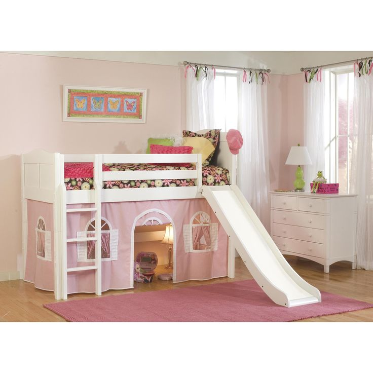 White Low Loft Twin Playhouse Bed with Slide and Ladder