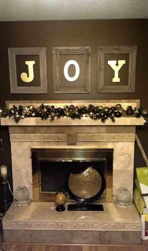 """Joy"" Floating Letters Within Empty Frames - Christmas / Antique Themed Decor"