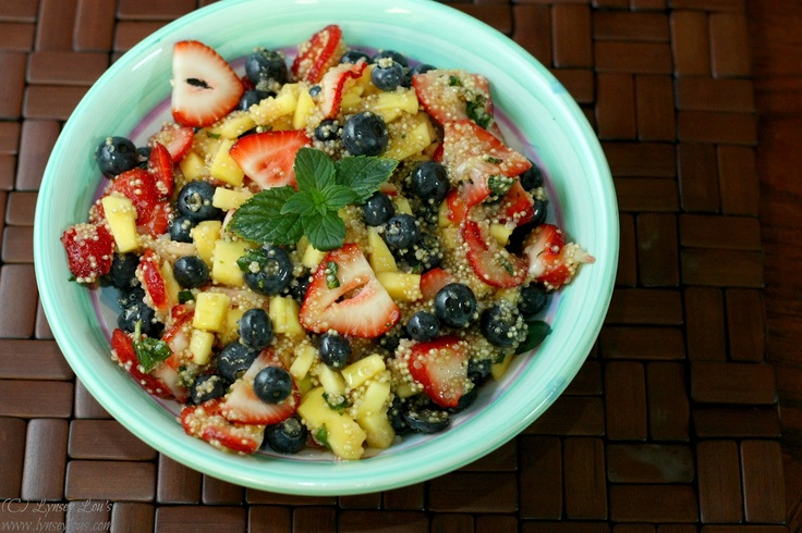 Quinoa Fruit Salad with Honey-Lime Dressing from Lynsey Lou's