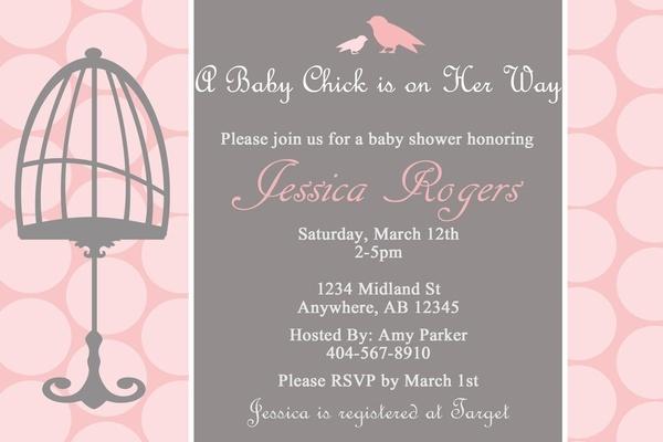 Baby Chick Custom Digital Baby Shower Invitation - Girl, Grey, Pink, White - Birdcage, Birds, Bird, Shabby Chic - 3 Designs, Printable, DIY. $15.00, via Etsy. invitations