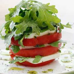 290 Calories-Tomato And Mozzarella Tower With Basil Oil