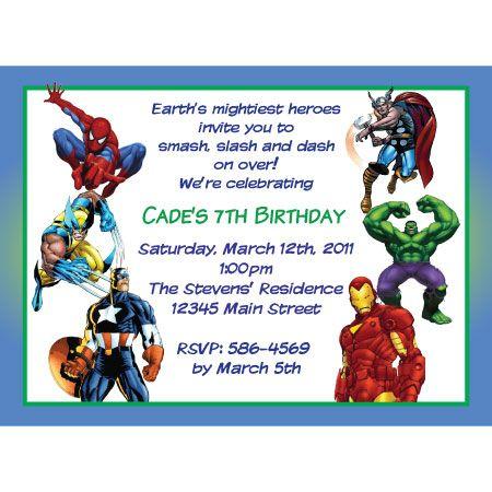 Marvel Heroes Birthday Invitation | Partys | Pinterest