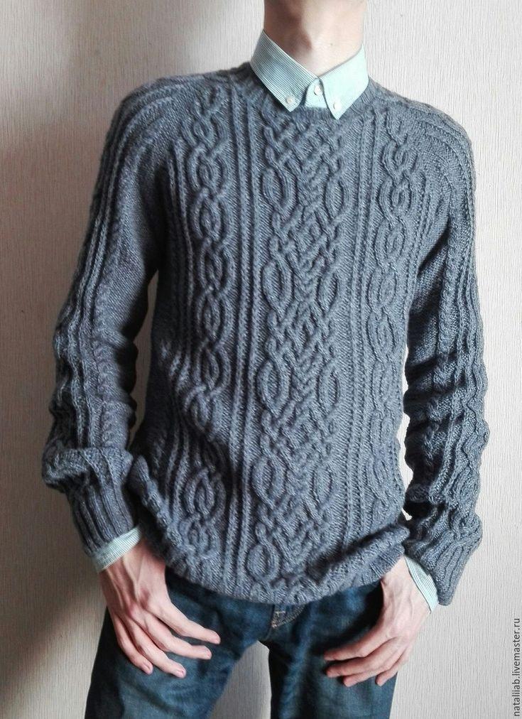 Вязание мужского свитера с аранами спицами 377