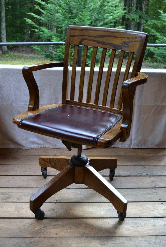 vintage wood oak office chair swivel wheels vinyl seat brass nail hea antique wood office chair