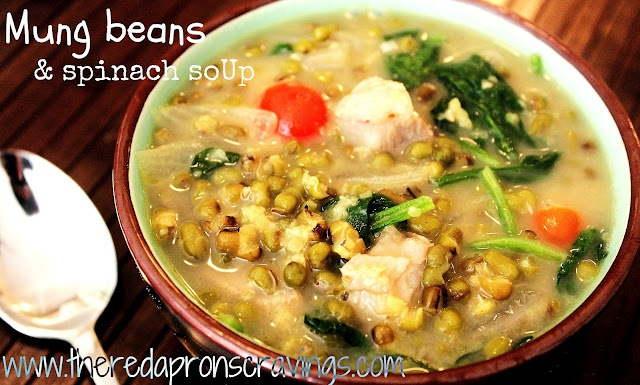 The Red Apron: Mung Beans & Spinach Soup (Ginisang Monggo)