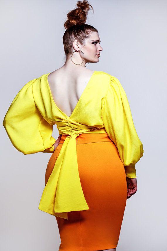 Yellow Blouses Plus Size 31