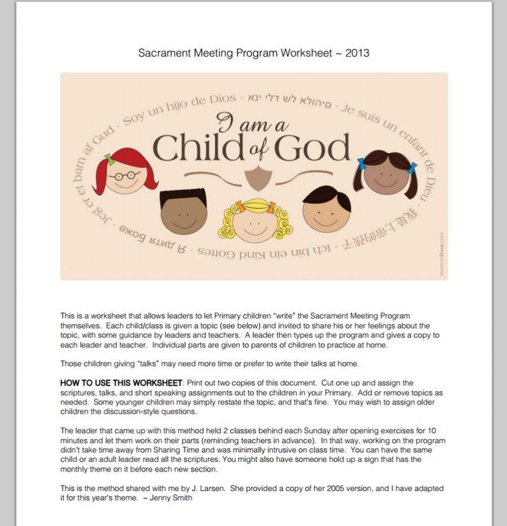 2013 I am a Child of God - Sacrament Meeting Program Template and ...