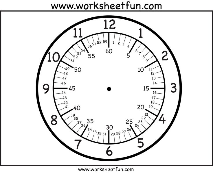 Clock face - with minutes | Time Worksheets | Pinterest