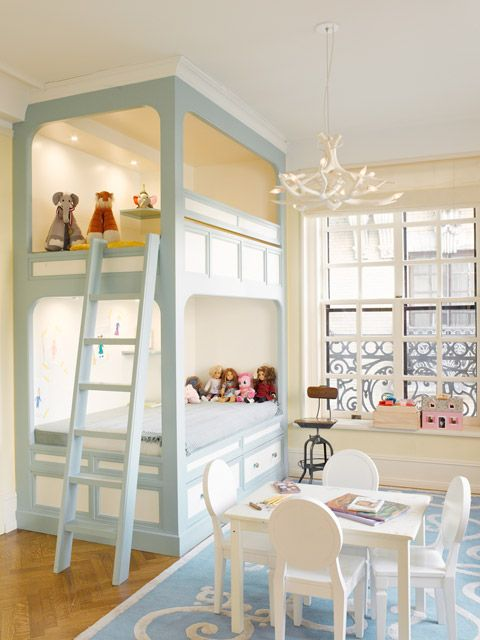 built in bunk beds - what a fab room!