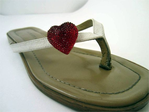 Red Hot Glitter Hearts Trendy Shoe Clips Shoe by ShoesNChampagne, $8