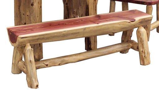 Amish Rustic Cedar Half Log Bench