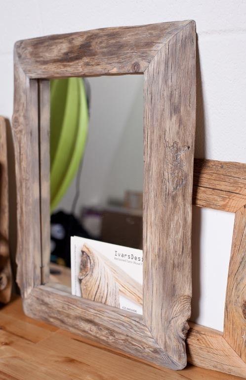 reclaimed farm wood frame with mirror 10x14