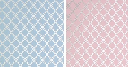 Pin by little crown interiors on wall treatments pinterest for Pink and silver wallpaper