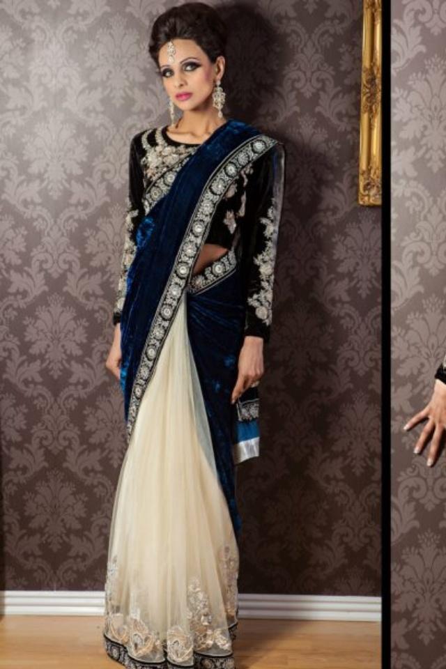 Blue net& Velvet saree