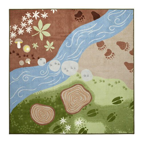 Large kids children boys girl forest square nursery area for Rugs for boys bedrooms
