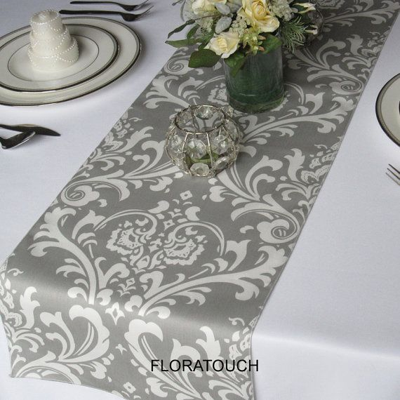 Table runners Damask Wedding wedding Gray wrapping Traditions and White table Runner  for  paper