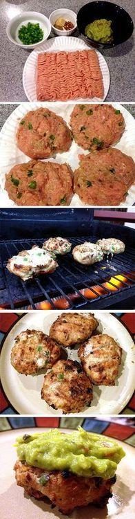Spicy Guacamole Chicken Burgers: 1# gd chicken, 1/2-1 jalapeno, 1/2 ...