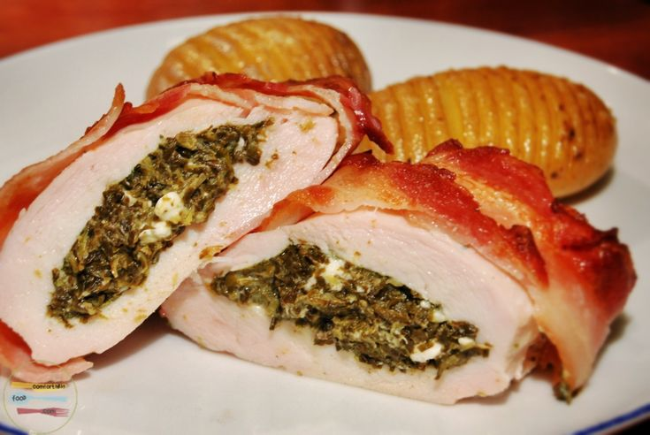 bacon wrapped spinach stuffed chicken..can leave off bacon for ...