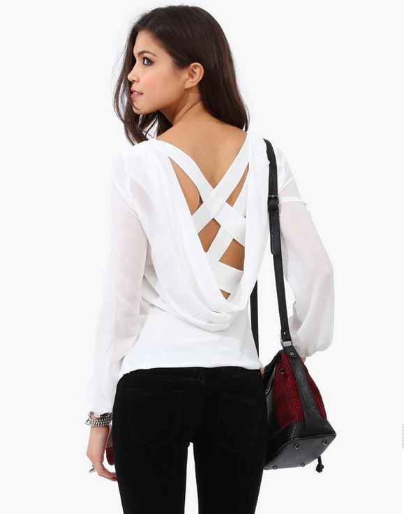 Criss Cross Blouse in ivory
