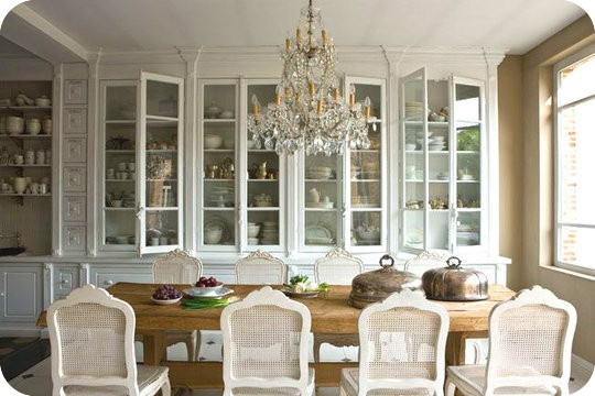 loving the wall of built in cabinets in dining room very functional
