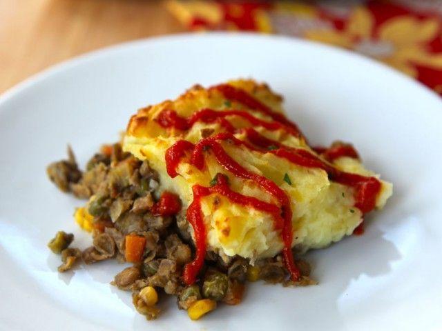 Vegetarian Shepherd's Pie - use almond milk & vegan margarine to make...
