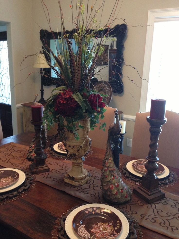 Dining room tablescape dining room pinterest for Dining room tablescapes ideas