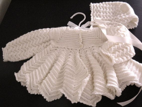 Crochet Stitch Jacket : CROCHET PATTERN Baby Jacket Coat and Bonnet Ripple by carolrosa, $3.45