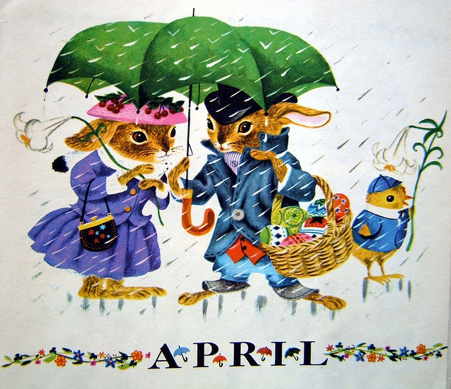 Vintage Calendar, April, illustrated by Richard Scarry