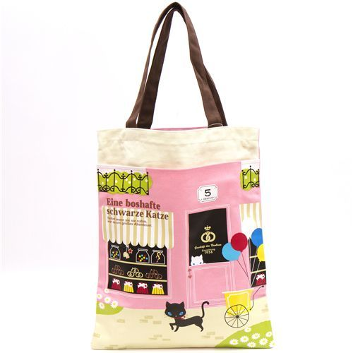 cute pink tote bag with kitty and bakery kawaii