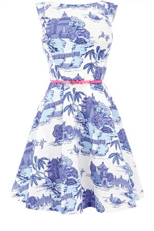 This 50s style full skirted dress has an all over vintage scenic print and is sleeveless in style. With a high neckline to the front and a v back, this piece simply zips up the back and is finished with a fluro bright belt.