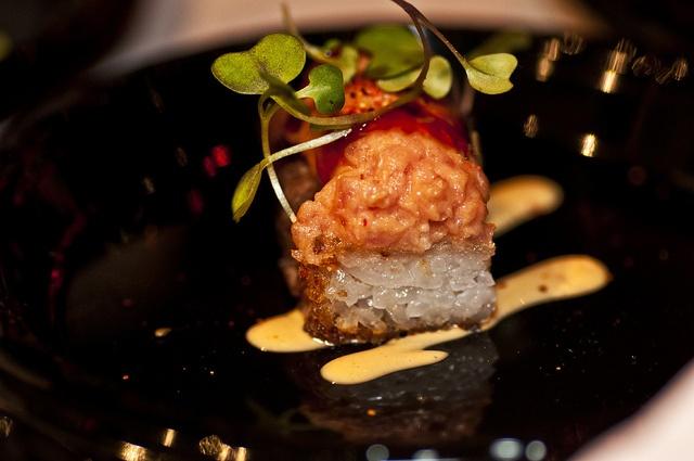 Spicy tuna tartare on crispy rice | Tuna Tartare | Pinterest