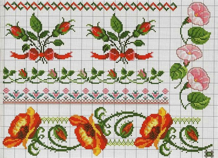 Бордюр розы вышивка крестом 76