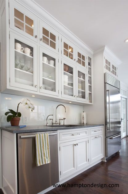 Glass Front White Cabinets Kitchen Pinterest