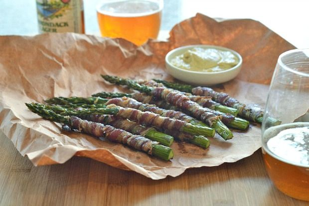 "Lamb Bacon Wrapped Asparagus | ""I drizzle coconut nectar or agave ..."