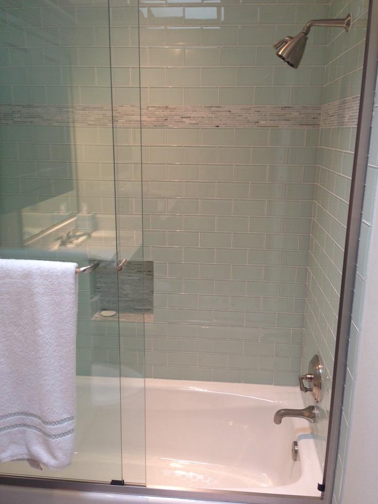 Shower White Subway Tile Bathroom Love Pinterest