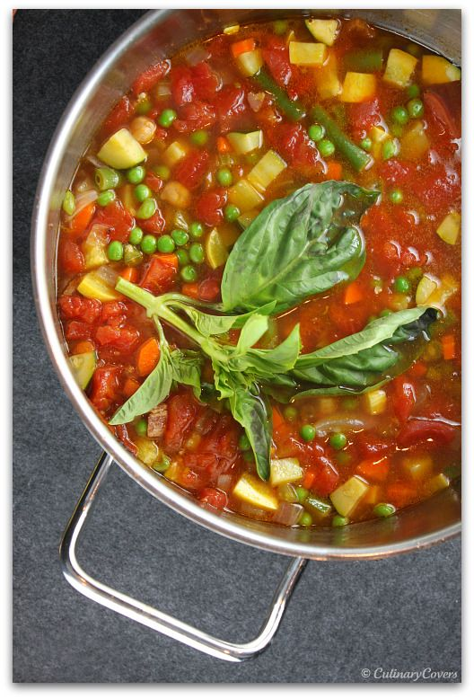 Tomato, Chickpea & Vegetable Soup with Basil
