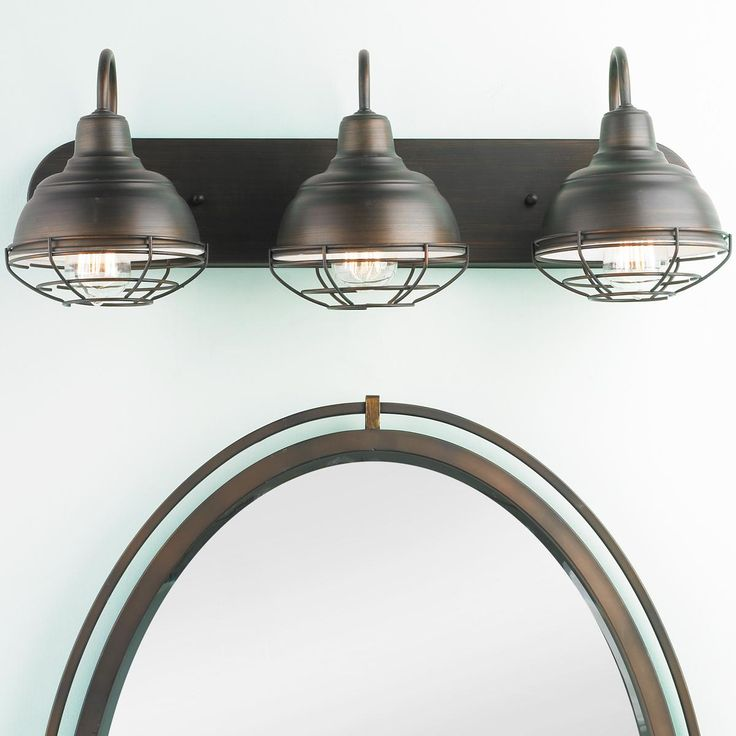 Industrial Cage 3 Light Vanity Light Available in 2 Colors: Bronze, S?