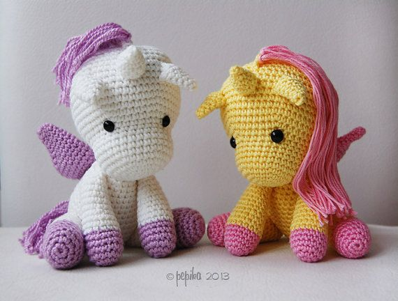 Crochet Unicorn Doll : Amigurumi Pattern Peachy Rose the Unicorn by pepika on Etsy, $5.00