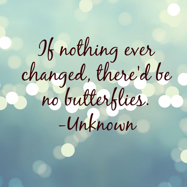 """If nothing ever changed, there'd be no butterflies."""