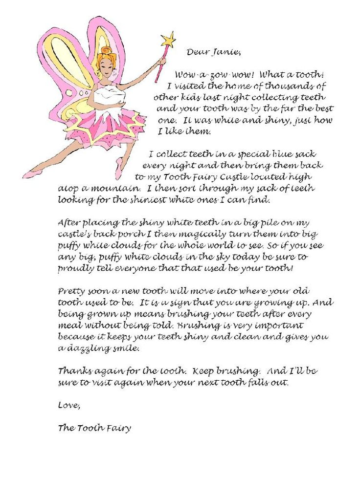 Tooth fairy letter sample toothfairy pinterest for Fairy letter ideas
