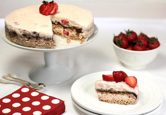Vanilla, Strawberry And Fudge Ice Cream Dessert Recipe — Dishmaps