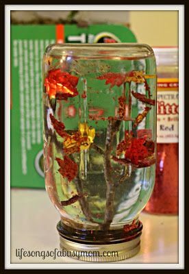 "Fall Leaves ""Snow Globe""  #Fall #SnowGlobe #leaves #fallleaves #fallcrafts #DIY"