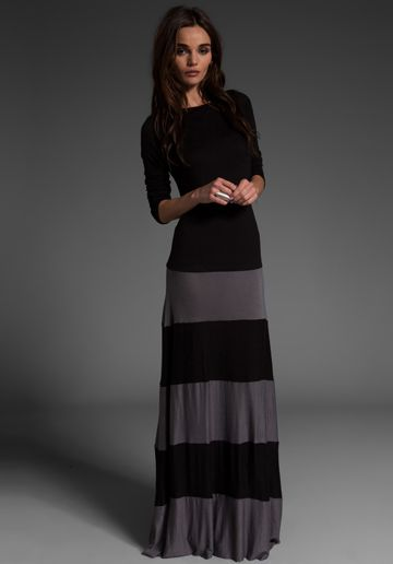 black and gray maxi dress...